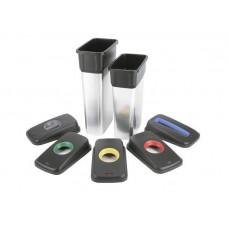 Контейнер ГЕО 55 л с наклейками для сортировки, цвет металл/черный, Vileda Professional