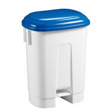 Ведро пластиковое для мусора, 60л. с держателем под мешок, с педалью, белое с синей крышкой
