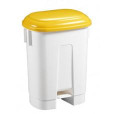 Ведро пластиковое для мусора, 60л. с держателем под мешок, с педалью, белое с желтой крышкой