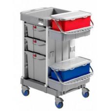 Многофункциональная уборочная тележка с выдвижными ящиками, лотками, 2 ведра по 20л. ACG OMEGA METAL FREE 0236704, 1003377