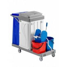 Многофункциональная гостиничная тележка с держателем для мусорного мешка, ящиком, 2 ведра по 15л. с отжимом ACG OMEGA 1003392