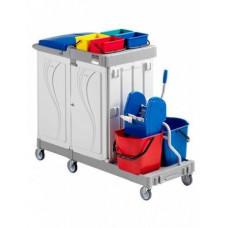 Многофункциональная гостиничная тележка с отделением для мусорного мешка, ящиком, 4 ведра по 4 л. 2 ведра по 15 л. с отжимом ACG OMEGA 1003393